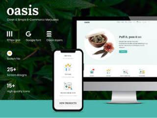 素描的清洁和最小的电子商务Web模板 - 带一些 图标!,Oasis - 大麻电子商务素描模板