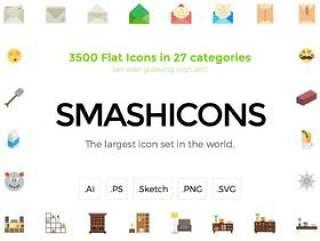 一大包3500平图标,Smashicons平
