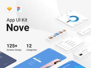 125个高级屏幕 - 12个类别用于移动UI工具包,Nove Mobile UI工具包