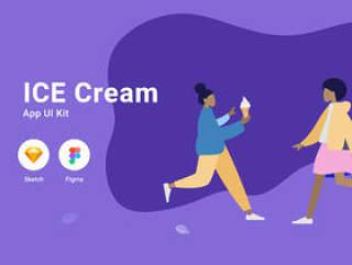 移动UI套件非常适合您的下一个基于社交媒体的项目。,冰淇淋应用程序