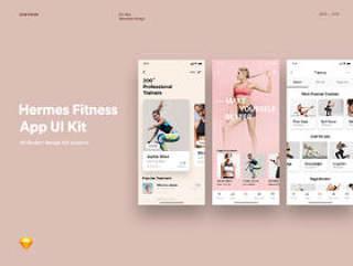 Hermes Fitness移动应用UI套件,Hermes Fitness移动应用UI套件