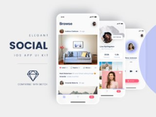 适用于Sketch,Social iOS App UI Kit的社交iOS App UI套件