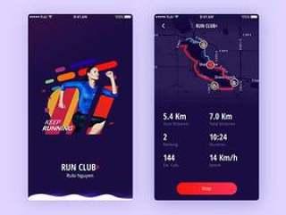 Run Club + 运动应用界面