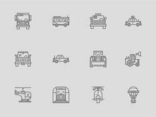 30 枚运输工具线性图标