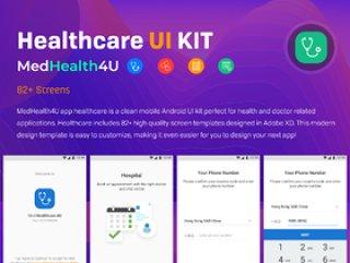 82+ Screens MedHealthcare4U Android移动UI套件,医疗保健医疗UI套件,含XD源文件