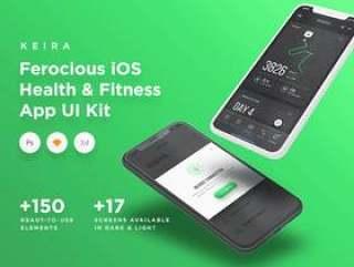 移动健康与健身UI套件Premium&Beautiful Elements。,Keira iOS UI套件