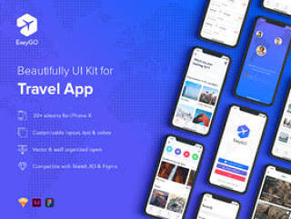 EasyGo - 适用于Iphone X,EasyGo的旅行应用UI工具包 - Travel App UI Kit