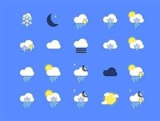 30 枚扁平天气图标