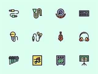 100 枚多彩音乐元素图标