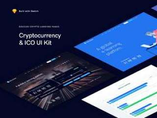 Crypto Light&Dark Landing UI套件和设计系统。,Educuo ICO UI套件