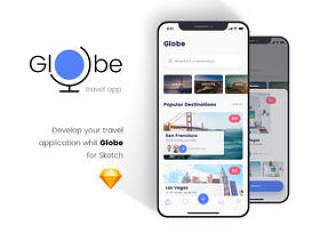 适用于Sketch的时尚iOS旅行应用UI工具包,Globe Travel应用程序