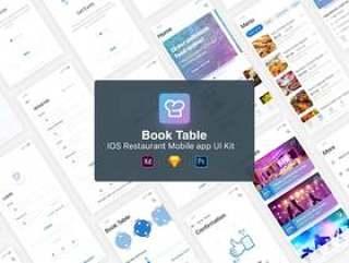 Sketch,PSD和XD IOS 11 App UI Kit专为餐厅设计。,BookTable App UI Kit