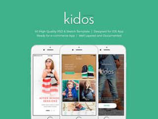 儿童服装iOS电子商务UI工具包,Kidos iOS UI工具包