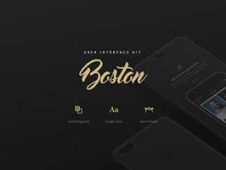 用于Sketch,Boston Mobile UI Kit中的移动应用程序的简洁清洁用户界面工具包