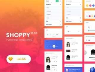 电子商务Sketch UI桌面UI工具包,Shoppy电子商务UI工具包