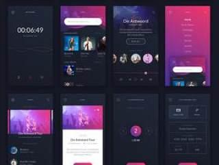 30+音乐应用程序界面UI iOS工具包sketch源文件格式打包下载