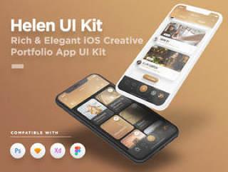 用于Sketch,Photoshop,XD和Figma,Helen iOS UI Kit的iOS Creative Portfolio App UI工具包