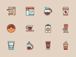 50 枚咖啡店元素图标