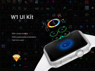 用于Apple Watch,W1 UI Kit的200多个屏幕UI工具包