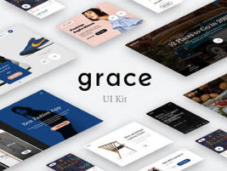 用于Photoshop和Sketch的现代和简约UI工具包,Grace UI工具包