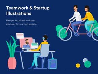 移动和桌面,团队合作和启动插图的团队合作和启动插图包