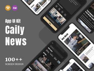 Sketch和Adobe XD中的移动应用程序杂志和新闻UI工具包,Caily新闻UI工具包