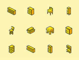 60 枚家具等距轴测图标sketch源文件下载