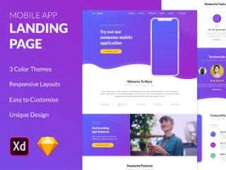 一个独特的登陆页面模板,用于展示移动应用程序。,Wavy Mobile App登陆页面