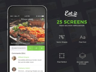 用于食品交付的iOS移动UI工具包,Eat It UI Kit