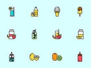 100 枚夏日食物和饮料图标