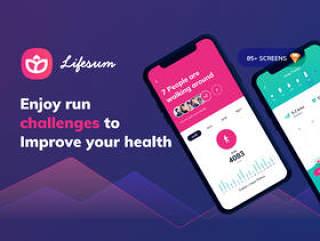享受运行挑战,以改善您的健康,Lifesum健康和健身移动应用程序 - UI工具包