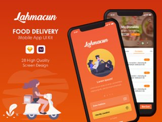 用于Sketch的Food Delivery Mobile UI UI工具包,Adobe XD。,Lahmacun - Food Delivery Mobile App UI Kit