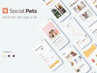 社交宠物应用程序UI工具包设计在Sketch,XD和Figma,社交宠物应用程序UI工具包