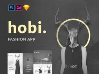 14屏幕时尚移动应用程序素描,XD和PSD,Hobi时尚应用程序设计