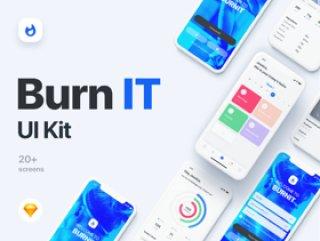 适用于Sketch。,BURNIT UI套件的健身iOS UI套件