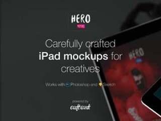 7精心打造的高品质iPad模型,适用于广告素材。,HERO iPad Mockups