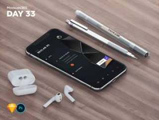 iPhone X和Apple AirPods使用Sketch&Photoshop的设计师笔模型。,Mockups365:第33天