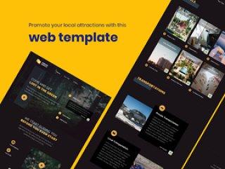 独特的XD,Figma,Sketch和PSD清洁旅行和本地景点网页。,本地景点网页模板