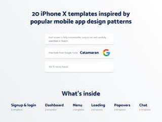 具有20个iPhone X模板的极简主义UI KIT受到流行的移动应用程序设计模式的启发。,Spojeeto Mobile App UI Kit
