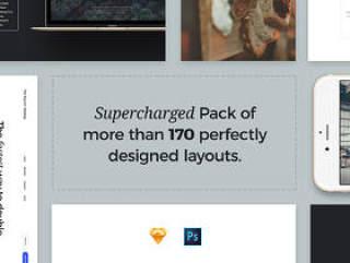 巨型网页模板UI工具包(含170个网页模板数百个页面元素20个登陆页面PSD和sketch源文件打包下载)