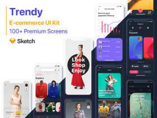 最全面的电子商务UI工具包,100多个屏幕。,时尚|电子商务UI工具包