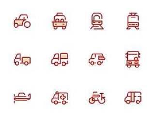 30 枚迷你运输工具图标