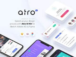 适用于Sketch,Adobe XD和Figma。,Atro Mobile UI Kit的100多个移动屏幕UI工具包