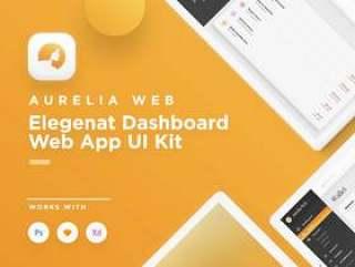 适用于Sketch,Photoshop和XD,Aurelia Web UI Kit的优雅仪表板Web App UI工具包