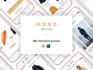 Mono iOS UI工具包,60多个电子商务项目的手机屏幕