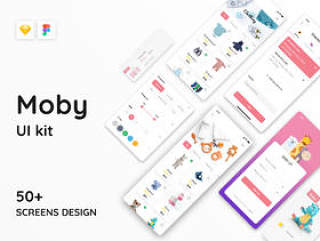 50+ Screen Moby UI Kit - 婴儿电子商务应用程序,Moby电子商务App Ui Kit