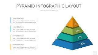 黄蓝绿色3D金字塔PPT信息图表3