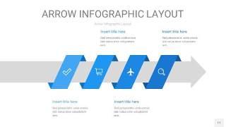 蓝色箭头PPT信息图表11