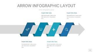 天蓝绿箭头PPT信息图表11