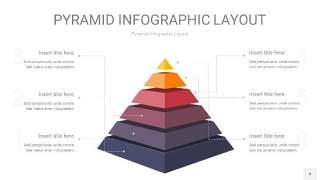 中紫色3D金字塔PPT信息图表4